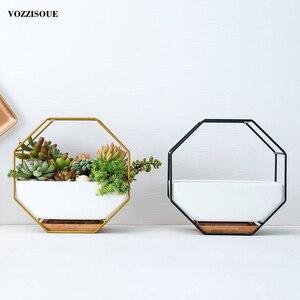 Image 4 - Pot à suspendre sur le mur, Maceta en céramique, Pots de fleurs succulents pour orchidées, porte Pots dintérieur pour plantes