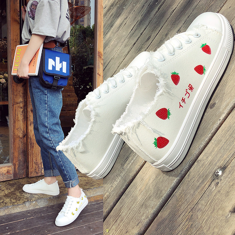 White Shoes Women's 2019 Spring New Style Strawberry Canvas Shoes Student Casual Ulzzang Versatile WOMEN'S Shoes