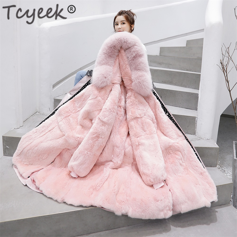 Long-Jacket Parka Hooded Real-Fur-Coat Korean Natural Winter Women Warm Fit Thick Tcyeek