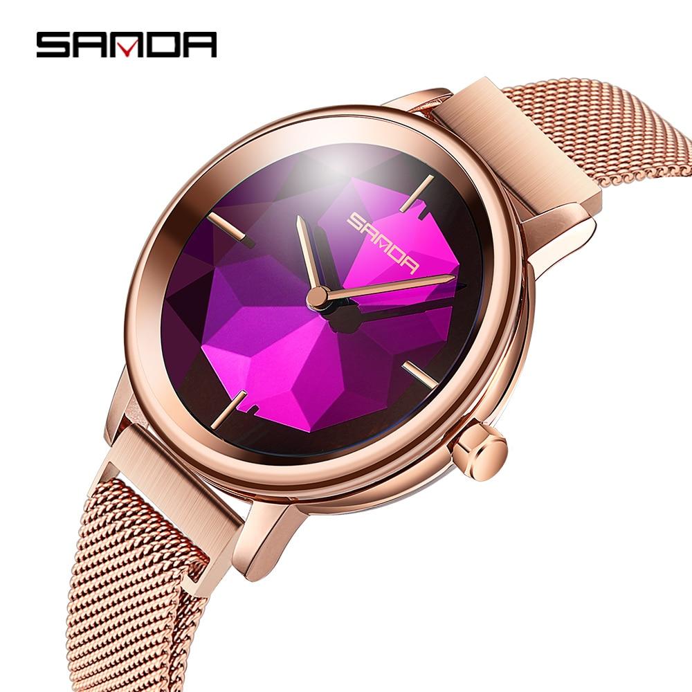 2020 New SANDA Rose Gold Women Watches Luxury Top Brand Mesh Watch Women Waterproof Female Clock Ladies Relogio Feminino P1016