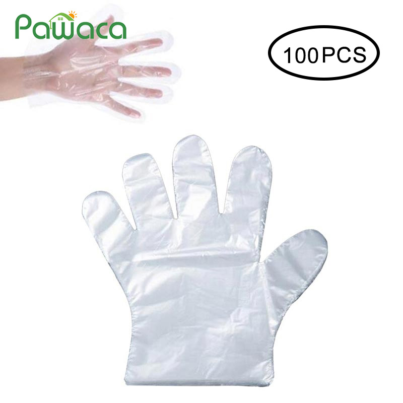 500pcs 100pcs Plastic Gloves Food Preparation Gloves Disposable Catering Cleaning Hair Dye PE Gloves For Restaurant Hotel BBQ
