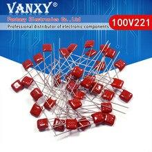 20 pces 100v221j 220pf 5% passo 5mm 220p 221 100v capacitor de filme de polipropileno cbb