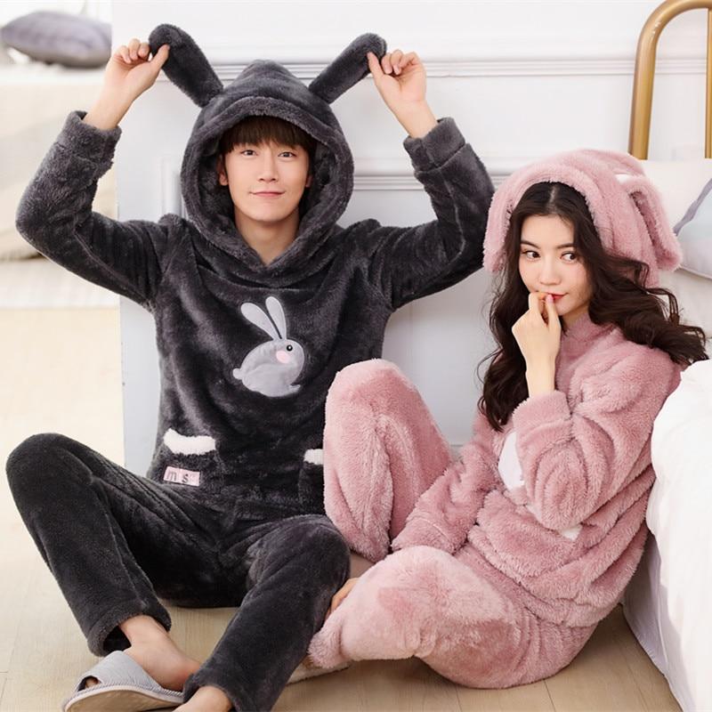 QWEEK 2019 New Cartoon Print Couple Pajamas Flannel Thick Warm Home Sleepwear Women Loose Soft Pyjamas Two Piece Lounge Pijamas