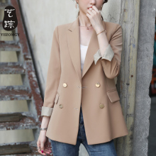 Simple Khaki Ladies Blazer Vintage Loose Casual Suit Jacket Long Sleeve Abrigos Mujer Korean Simple Women Jacket Spring MM60NXZ