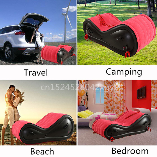 Inflatable Lounge Chair With 4 Handcuffs For Adult Couple Love Games Rocking Chair Sexy Red Folding Bed Sofas Velvet Soft 3