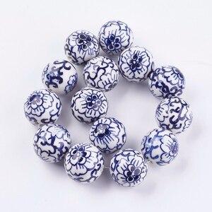 Image 5 - Pandahall 20 pièces 12/18mm fait à la main bleu et blanc porcelaine perles en céramique pour la fabrication de bijoux bricolage