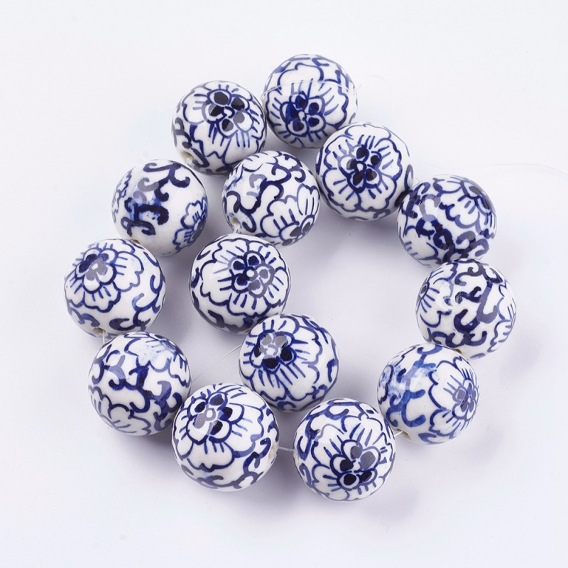10pcs Handmade Printed Porcelain Beads Flower Round RoyalBlue Jewelry 10mm