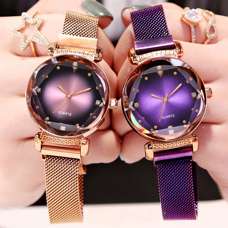 Dropshipping Luxury Rose Gold Women Watches Fashion Diamond Ladies Starry Sky Magnet Watch Waterproof Female Wristwatch For Gift