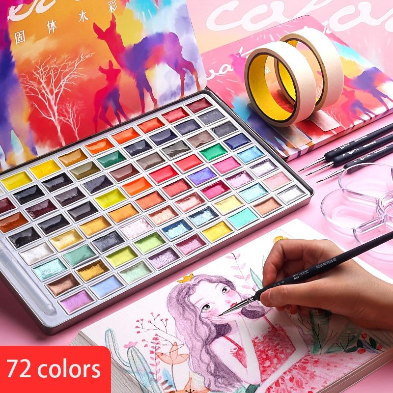 72/90 цветные перламутровые Твердые акварельные краски в наборе/перламутровые ручные краски ed сплошной цвет/краски/Водные краски/товары для ...