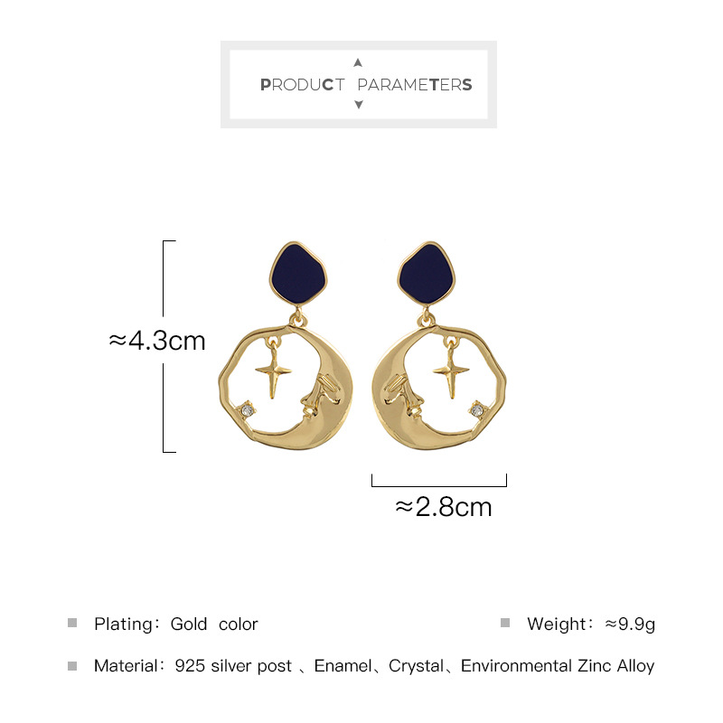 Vintage Drop Earring Alloy Star Moon Round Earrings For Women 2020 New Design Jewelry For Party Wholesale Factory
