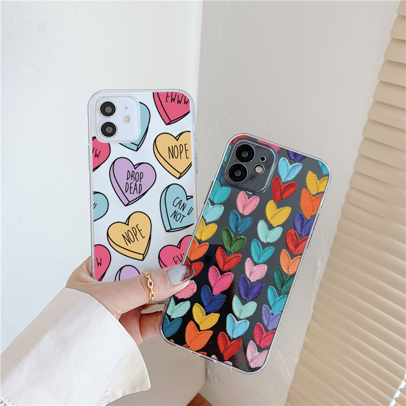 Cute Love Hearts Clear Phone Case Samsung S21 A21S A30 A50 A40 A51 A52 A71 A70 S10E S9 S10 S20 FE Note 20 9 10 Plus Ultra Cover