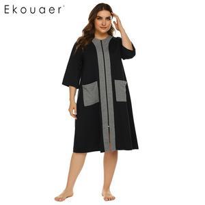 Image 3 - Ekouaer, camisón de talla grande para mujer, bata de media manga con cremallera y bolsillos, ropa de descanso, vestido de noche para señora, camisón, ropa de dormir, XL 5XL