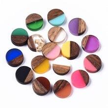 50pcs 10mm résine & bois Cabochons résine Cabochon dos plat pour la fabrication de bijoux Bracelet à bricoler soi-même boucle d'oreille accessoires 10x3.5 ~ 4mm
