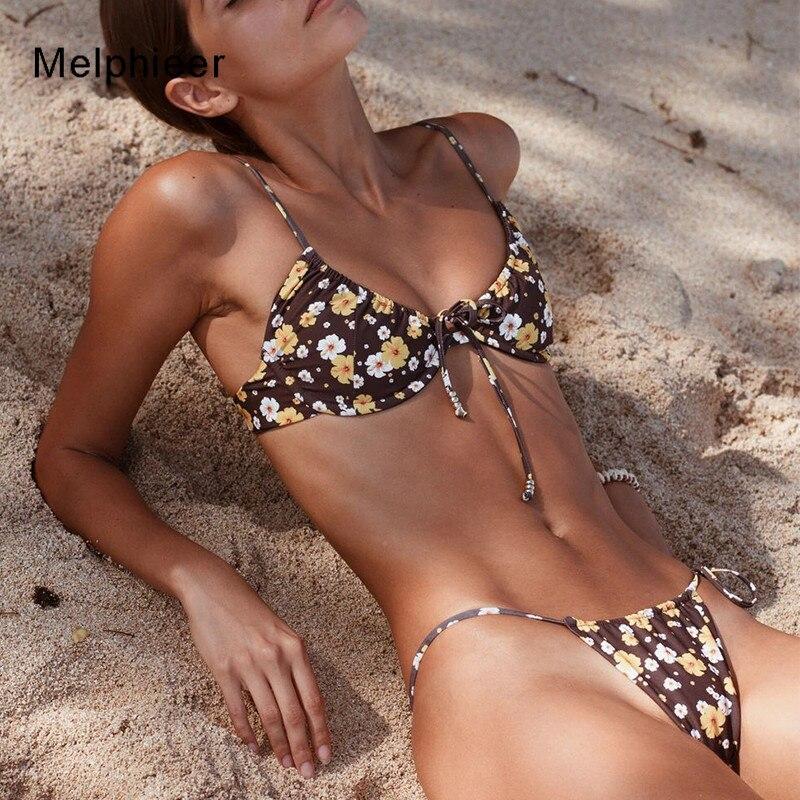 2020 Brazilian Strap Bikini Thong Floral Print Swimwear Female Push Up Bathing Suit Bandage Swimsuit Women Sexy Biquini Bathers