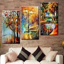 Pintura de diamante 3d artesanal, cuadro de pared moderno abstracto, árbol de lluvia, carretera, bordado de diamantes, lienzo, decoración de pared, decoración del hogar, 3 uds.