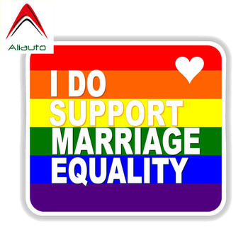 Aliauto Cool Car Sticker Gay Rainbow I Do Support Marriage Equality PVC Decal Cover Scratches for Vw Nissan Skoda Opel,15cm*13cm image