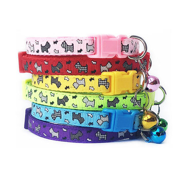 Cat Dog Collar Bell Cartoon Print Neck Strap Polyester Adjustable Buckle Pet Collar with Bell Personalized Pet Collars image