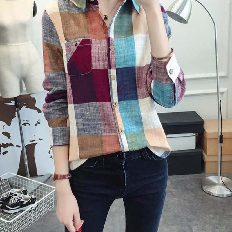 Women Casual Cotton Long Sleeve Plaid   Shirt   Slim Outerwear   Blouse   Tops Ladies Office Bodycon Tops