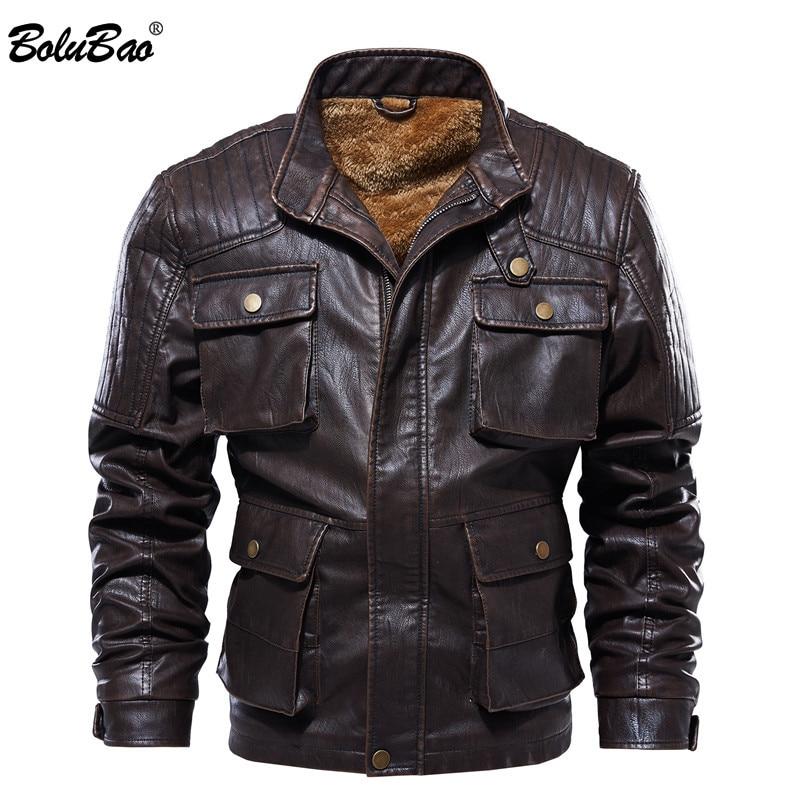 BOLUBAO Men's Winter Leather Suede Jacket Casual Thicken Fleece PU Warm Men Slim Fit Male Leather Jackets Multi Pocket