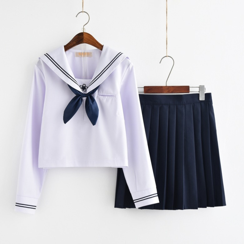 Girl Short Skirt Japanese Style JK School Uniform Japan College Stage Dance Sailor Costume Pleated Anime Cosplay T-shirt Dresses