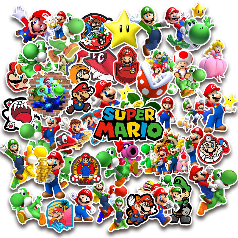 50pcs/Pack Anime Game Super Mario Cartoon Stickers Waterproof Suitcase DIY Laptop Guitar Skateboard Toy Kids Stickers