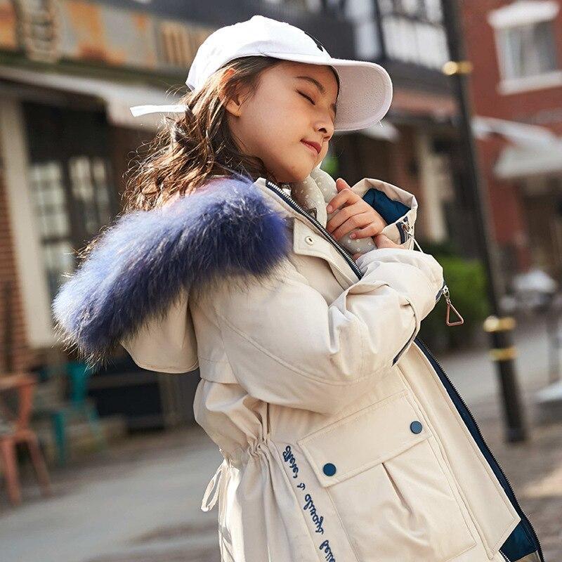 Зимняя пуховая куртка из натурального меха для девочек, теплая парка 90%, модная зимняя одежда, детское плотное пальто, детская одежда, 4 цвета