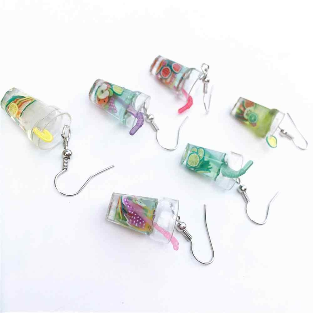 Bubble Tea Anting-Anting Botol Anggur Stud Kreatif Yang Unik untuk Wanita Kepribadian Susu Teh Minuman Anting-Anting Lucu Pesta Perhiasan Gadis Hadiah