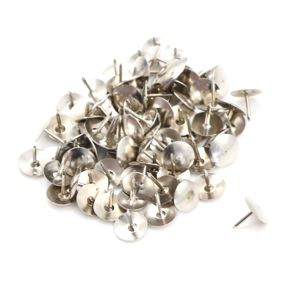 80Pcs Silver Tone Corkboard Photo Push Pins Thumb Tacks