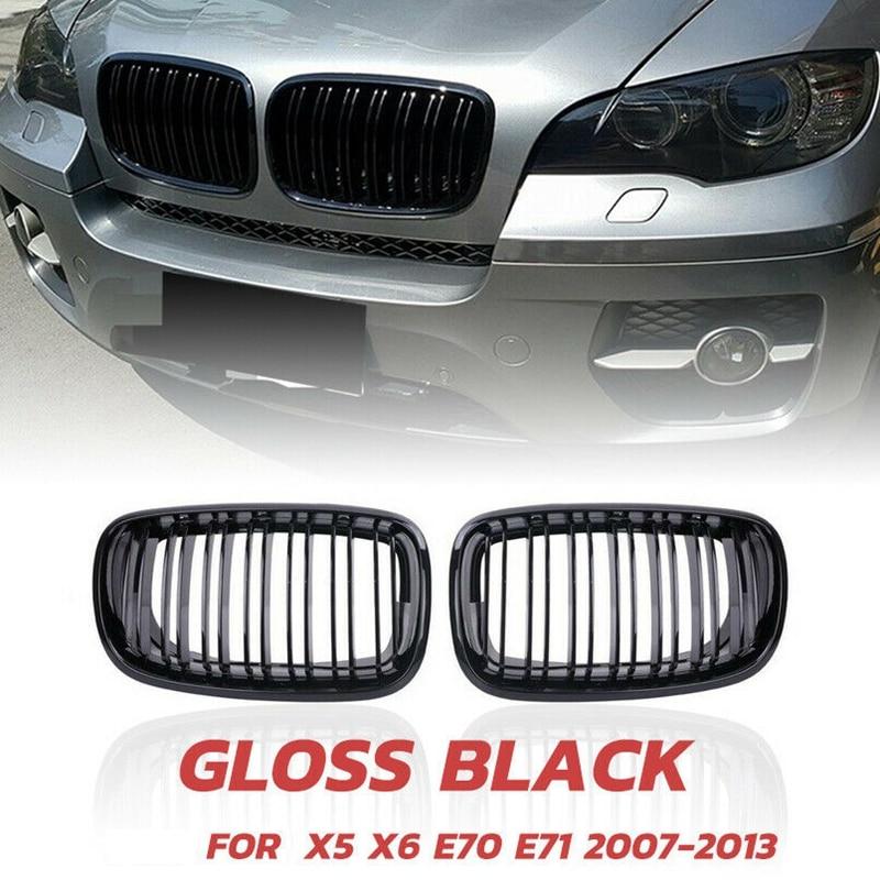 X5 X6 гриль, передняя почечная двойная линия решетка для 2007-2013-BMW X5 E70 X6 E71 (ABS глянец Черный гриль, 2-шт набор)