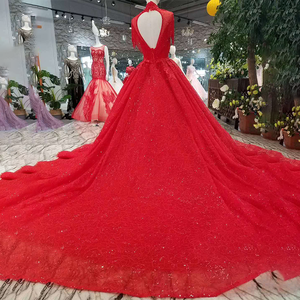 Image 2 - LSS106 אדום ציצית מסיבת חתונה כלה גבוהה צוואר חרוזים שרוולים גב פתוח אונליין שמלה לנשף משלוח חינם חדש הגעה