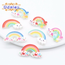 30Pcs/lots Cute Rainbow Resin Supplies DIY Baby Girls Shoes/Clothing Crafts Planar Stone Appliques Ornament Wedding Decoration