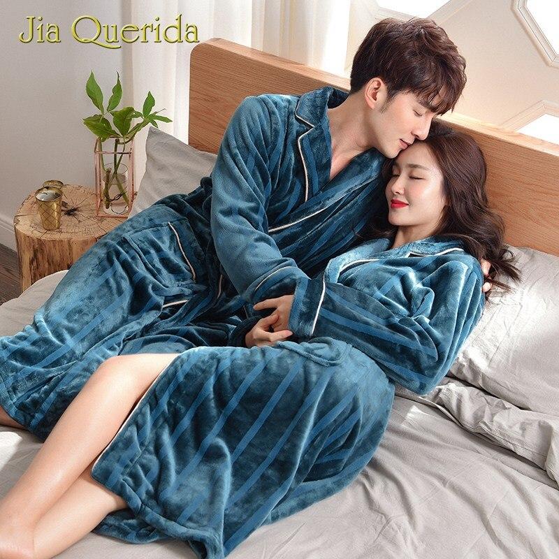 Couple Winter Bathrobe Turn-down Collar Long Sleeves Soft Warm Flannel Pocket Plus Size Leisure Homewear Luxury Flannel Robes