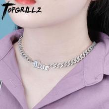 TOPGRILLZ Custom Name Pendant Choker Necklace Stainless Steel 26 Different Style Custom  Necklace With CZ Chain Necklace