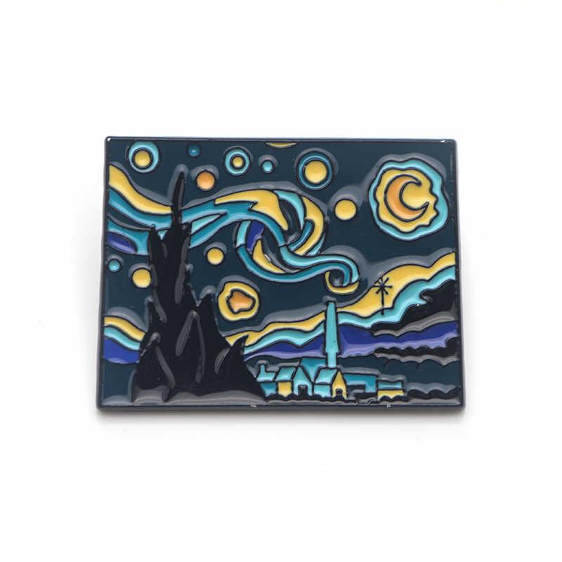K339 Moda Van Gogh Spilli Pittura A Olio Smalto Spille per Le Donne Degli Uomini del Risvolto Spille Distintivo In Metallo Del Collare Dei Monili Regali di Raccolta 1pcs