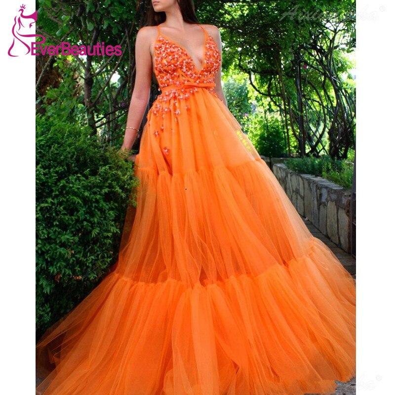 Robes de soirée Orange 2019 a-ligne perlée Tulle longues robes formelles col en v bretelles spaghetti Sexy robes de bal