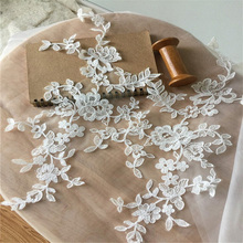 5 Pairs Cotton Thread Embroidery Alencon Lace Applique Wedding Lace Motif Bridal Veil Bodice Wedding Dress Overlay Patch 5 pairs ivory floral lace applique pair motif for wedding dress bodice headpiece bridal lace flower wholesale lace flower