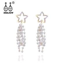 DREJEW Hollow Gold Star Grape White Pearl Long Tassel Statement Earrings 2019 925 Drop for Women Wedding Jewelry HE9801