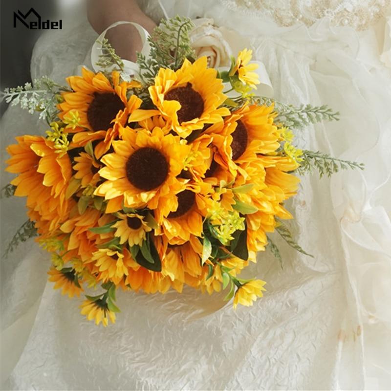 Meldel Yellow Silk Sunflower Wedding Bridal Bouquet Silk Artificial Flowers Bridal Bouquet For Wedding Bridal Holder Accessories