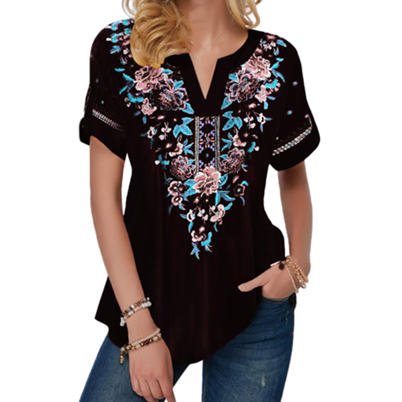 Elegant Women Floral Print Blouse Shirt 2020 Summer Female Blouse Casual Short Sleeve Notch Neck Ethnic Flower Print Shirts 5XL