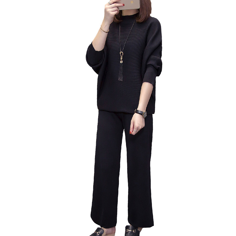 Black Knitted Suit Women Warm 2 Piece Set Pant Suits and Top 2019 Winter Autumn Plus Size Large Outfit Tracksuit Co ord Clothing in Women 39 s Sets from Women 39 s Clothing