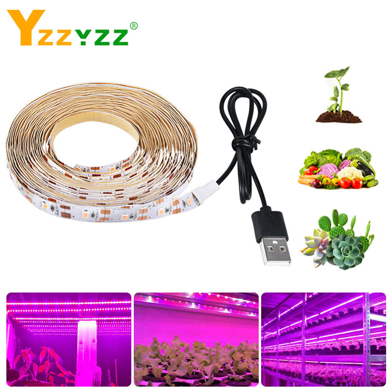 Full Spectrum LED Grow Light USB LED Strip 0.5m 1m 1.5m 2m 3m 2835 SMD LED Phyto Lamp For Greenhouse Hydroponic Plant Growing