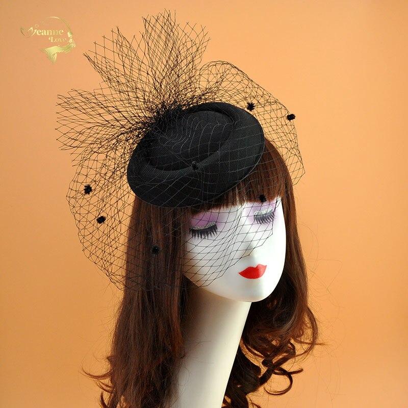 2020 Fashion Black Wedding Hats With Veil Red White Ivory Cover Face Mesh Bridal Hats For Women Elegant Ocados Sombreros Bodas