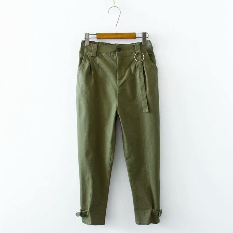 Plus Size XL-4XL Women's Causal Pants Black Elastic Waist Green Office Wear Ankle Trousers