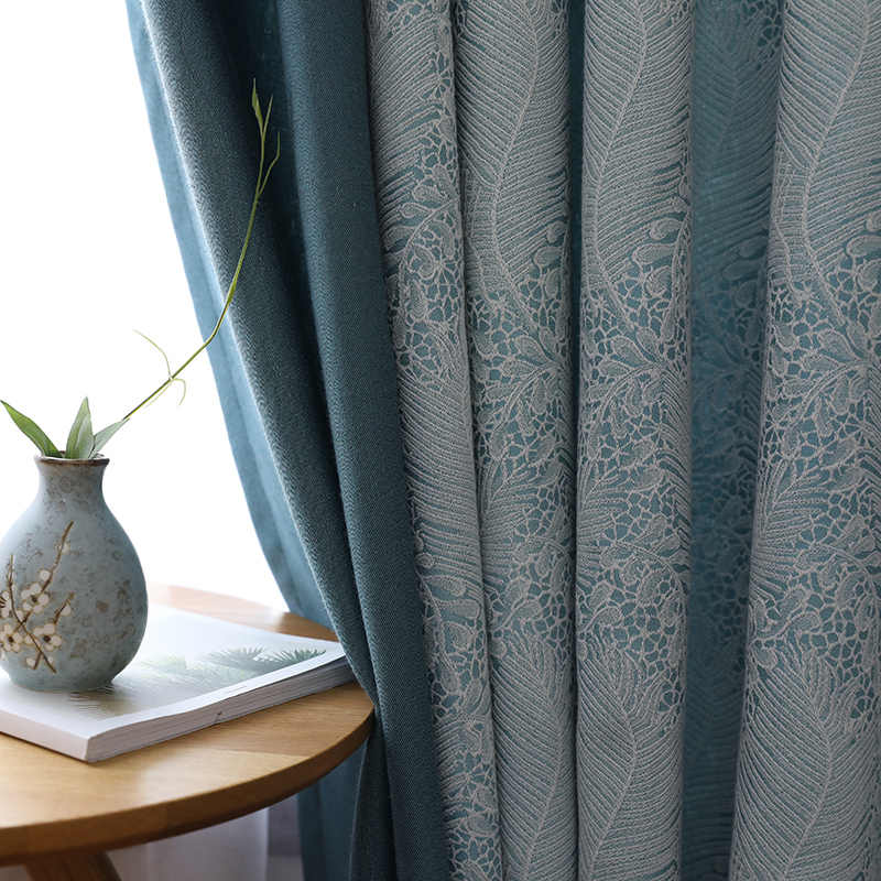[byetee] Modern Jacquard curtains for Bedroom Living room Windows Balcony Doors Blackout Fabric Drapes