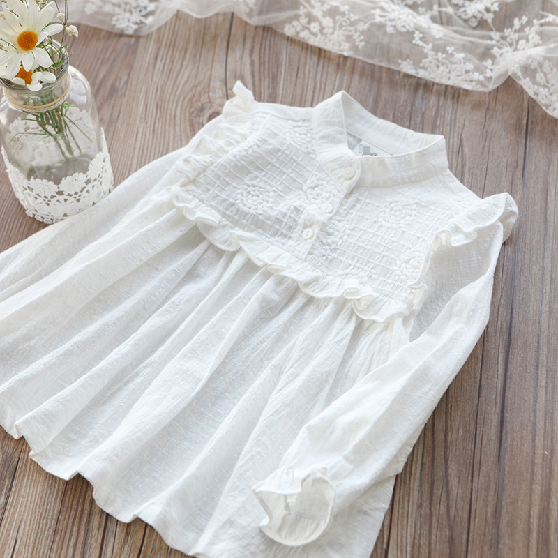 New Girls' Pure Cotton Long-sleeved Shirt White Chest Embroidered Shirt  Girls Blouse  Kids Blouse White