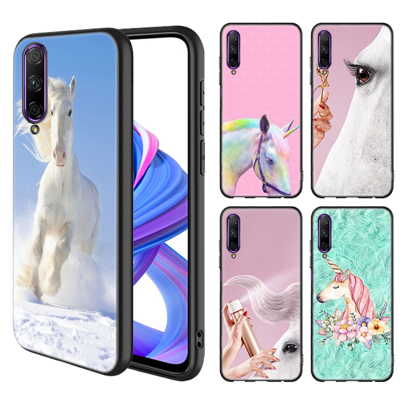 Beautiful White Horse Case for Huawei Honor 8X 8C V30 9X Pro Y9s 20 10 Lite Play 3 3e Y9 Y7 Y6 2019 Black TPU Phone Cover Casos image
