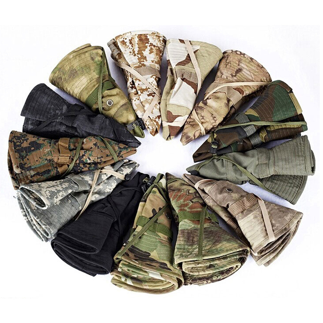 Tactical Boonie Hat Army Fisherman Cap Military Training Sun Protector  Hat Outdoor Sports Camouflage Fishing Hiking Hunting Cap 6