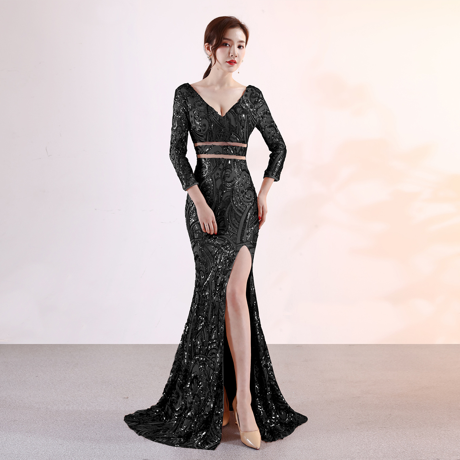 Fishtail Sexy V Neck Split Long Sleeve Mermaid Evening Dresses 2019 Elegant Party Gowns Glitter Gold Silver Black Prom Dress