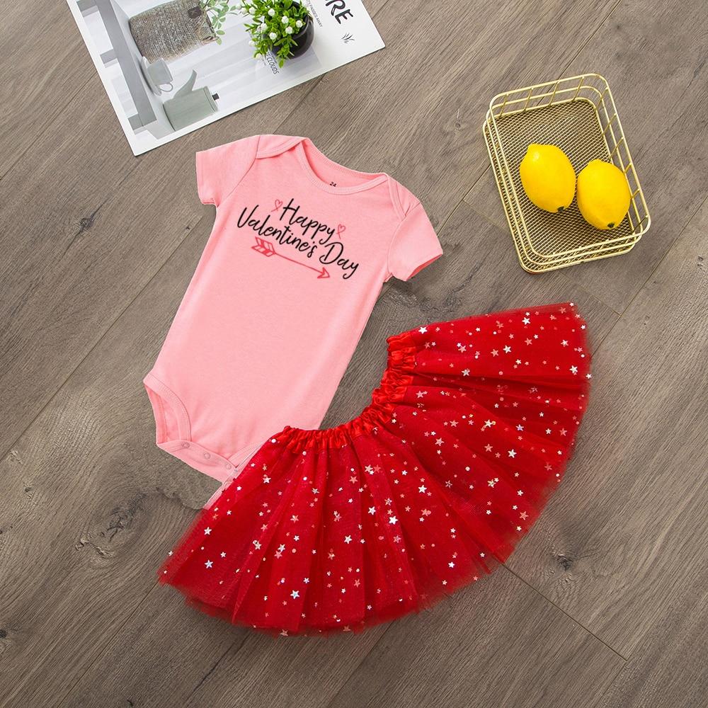 2pcs Happy Valentine's Day Newborn Baby Lovely Romper + Tutu Skirt 1st Valentines Day Baby Girls Clothing Set