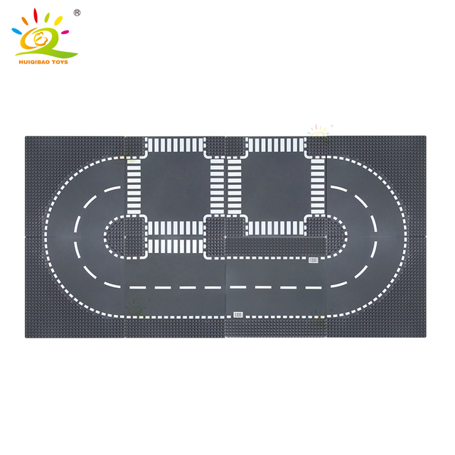 HUIQIBAO City Street Base Plate Crossroad Curved Road Baseplates Compatible Architecture car Truck Building Blocks children Toys